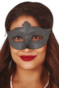 Ladies Black & Silver Masquerade Mask