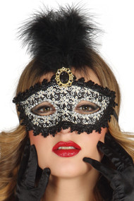 Ladies Black Ornate Masquerade Mask