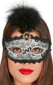 Ladies Silver Sparkle Masquerade Mask