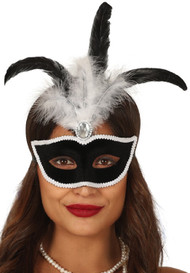 Ladies Black Velvet Masquerade Mask