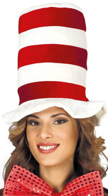 Adults Red & White Fancy Dress Top Hat
