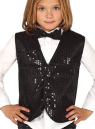 Childs Black Sequin Fancy Dress Waistcoat