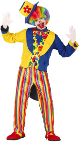 Mens Rainbow Clown Fancy Dress Costume