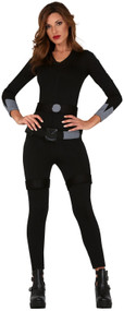 Ladies Black Assassin Fancy Dress Costume