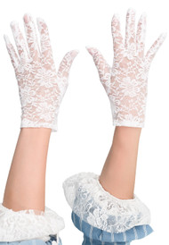 Ladies White Lace Short Gloves