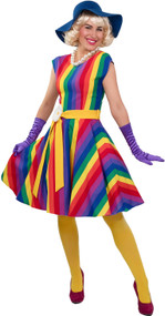 Ladies 1920s Rainbow Pride Fancy Dress Costume