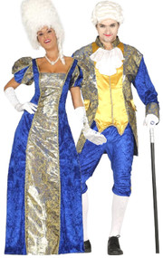 Couples Blue Courtesan Fancy Dress Costumes