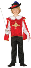 Boys Red Medieval Musketeer Fancy Dress Costume