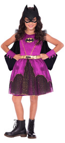 Girls Purple Batgirl Fancy Dress Costume