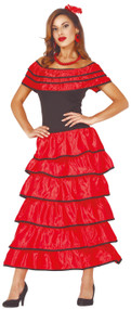 Ladies Red Spanish Dancer Fancy Dress Costume