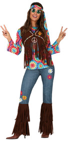 Ladies 60s Festival Hippy Fancy Dress Costume