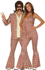 Couples 70s Flared Fancy Dress Costumes
