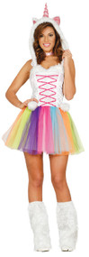 Ladies Rainbow Unicorn Fancy Dress Costume