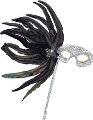 Ladies Silver Sequin Masquerade Eye Mask With Stick
