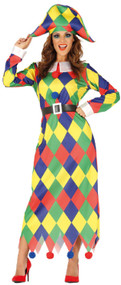 Ladies Harlequin Fancy Dress Costume