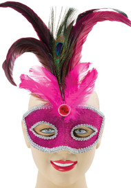 Ladies Pink Peacock Feather Masquerade Mask