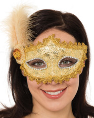 Ladies Gold Glittery Feathered Masquerade Eye Mask