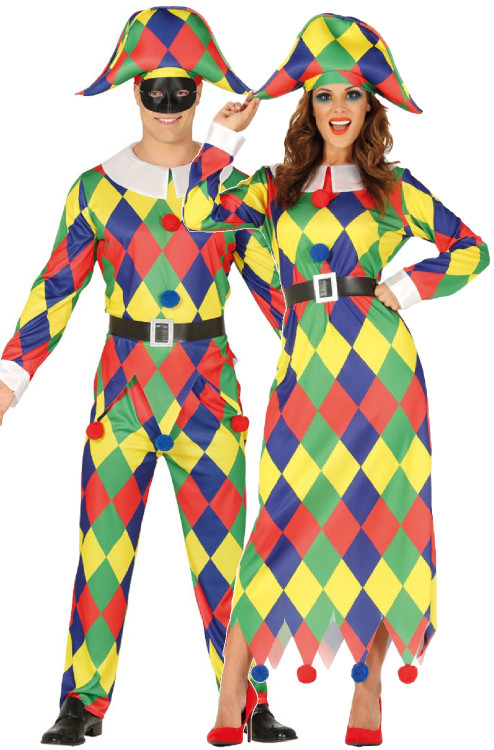 Couples Ladies /& Mens Carnival Jester Medieval Fancy Dress Costumes Outfits