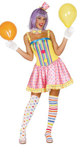 Ladies Candy Clown Fancy Dress Costume