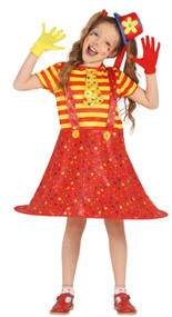 Girls Carnival Clown Fancy Dress Costume