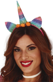 Ladies Rainbow Glitter Unicorn Hairband
