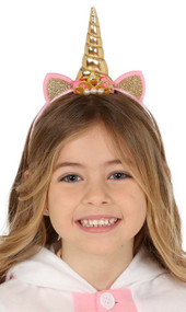 Girls Golden Unicorn Fancy Dress Hairband