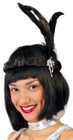 Ladies Black Feather Flapper Headdress