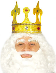 Mens Golden King Fancy Dress Crown