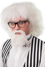 Mens White Bushy Wig & Beard