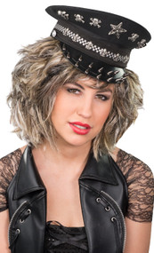 Adult Black Studded Military Hat
