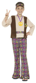 Boys 60s Peace Hippie Fancy Dress Costume