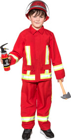 Child's Red Fire Fighter Fancy Dress Costume