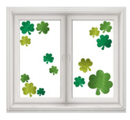 St Patricks Day Glitter Shamrock Window Decorations