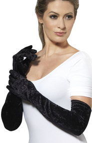 Ladies Long Black Velveteen Gloves