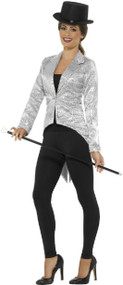 Ladies Silver Sequin Fancy Dress Tailcoat