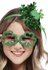 Adults Glitter Shamrock Fancy Dress Glasses