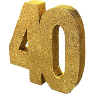 40th Birthday Gold Glitter Table Centerpiece