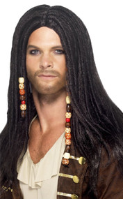 Mens Long Beaded Pirate Fancy Dress Wig