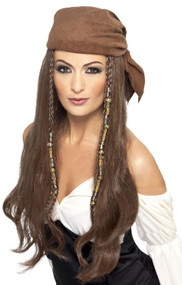 Ladies Long Brown Bandana Wig