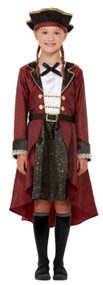 Girls Deluxe Red Pirate Fancy Dress Costume