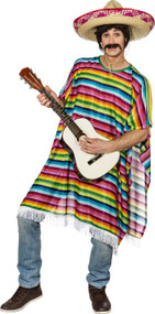Adult Long Mexican Rainbow Poncho