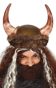 Adults Furry Viking Fancy Dress Helmet