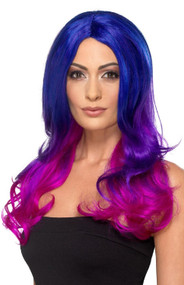Ladies Blue Pink Ombre Fancy Dress Wig