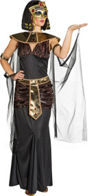 Ladies Black Cleopatra Fancy Dress Costume