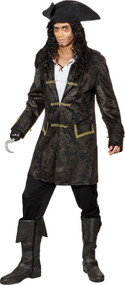 Mens Black Leather Look Pirate Jacket
