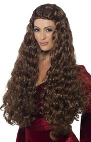 Ladies Brown Medieval Princess Wig