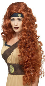 Ladies Auburn Warrior Queen Fancy Dress Wig