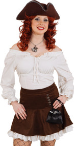 Ladies Cream Pirate Fancy Dress Blouse