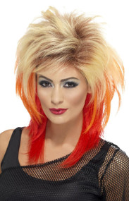 Adults 80s Colorful Mullet Fancy Dress Wig