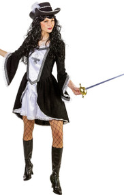 Ladies Black Musketeer Fancy Dress Costume